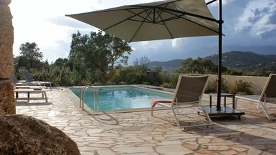 Photo for New villa, stunning mountain views, heated pool, beach 1500 m Blue Shed