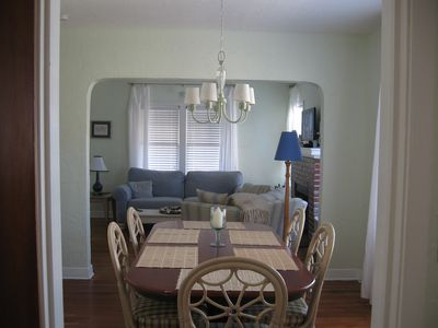 Separate dining room seats up to 8 guests.