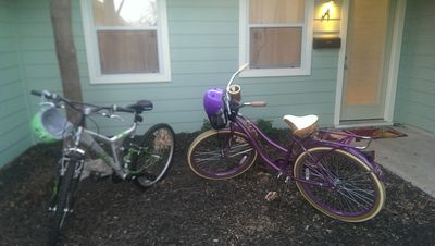 His and hers bike you may use to ride up to the shops, HEB, parks food trucks