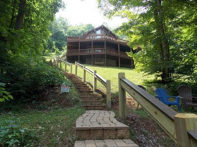 Photo for Private lakefront home with Internet, New Covered Dock!.  Quiet cove