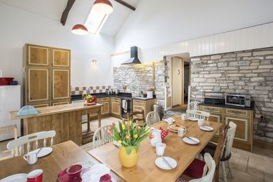 Eat in kitchen with table for fifteen
