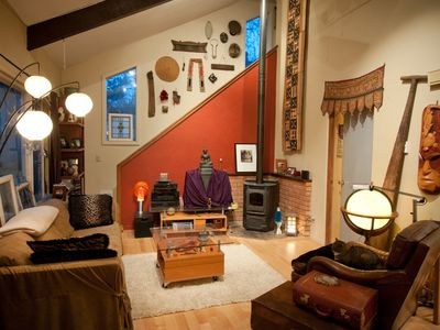 living room - stream your iPod to surround sound, wifi, cozy pellet stove..
