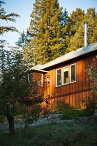 Lavender Cottage sits high above the redwoods with panoramic views