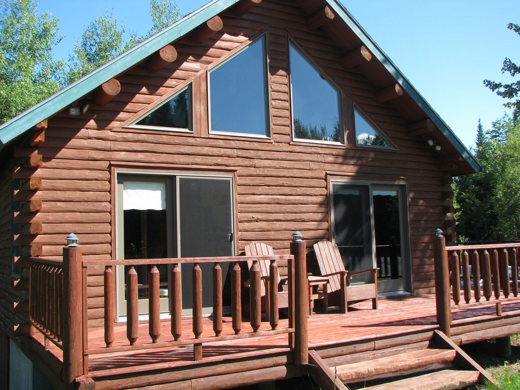 Chalet style log cabin twin mountain white mountains new for Ski cabins in new hampshire