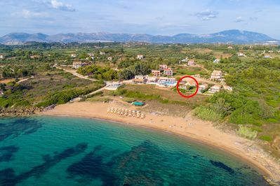 Aerial view of Vrahinari Beach showing location of Maria Beach House
