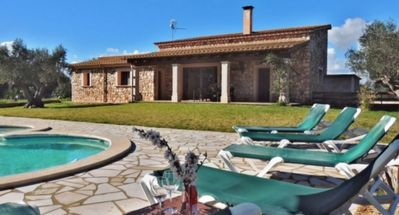 Photo for Stylish Newly Built Stone Villa with Air Conditioning, Private Pool and Outdoor Jacuzzi!