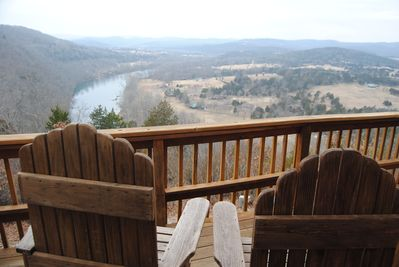 Enjoy the view below from over size super comfortable deck chairs