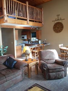 Photo for A Lodge Style Cabin, Stunning Mountain views, 1 1/2 miles to town, dogs ok