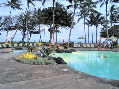 Oceanfront~Beachfront~Kauai Coast Resort at the Beachboy at Dusk~Welcomes You!