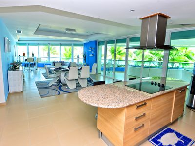 Beach-Front  luxury apartment with Pent house blue print on first floor.