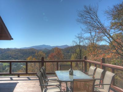 Photo for Peaceful Mountain Cabin with Huge Views, Fireplace, Fire Pit, Wraparound Deck, Vaulted Ceilings