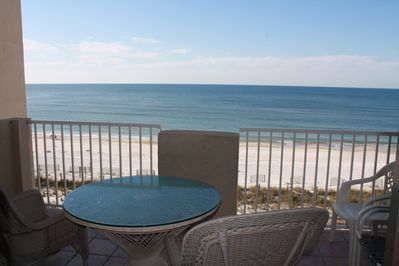 Great outdoor dining on the spacious Gulf front balcony.