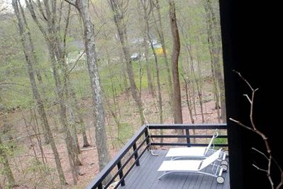 Aerial view of back deck.