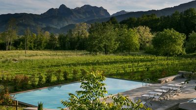 Photo for Stylish apartments with large pool in beautiful countryside - mountain views