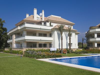 Photo for 402 Luxury Serv Apart-Estepona 3 Bed, 28c Heated 20m Pool, Jacuzzi - an Oasis