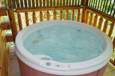 Enjoy a quiet evening after a long day soaking in the hot tub!