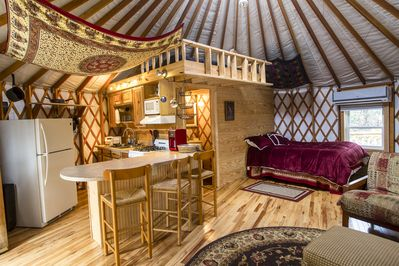 The yurt is basically one large room with a private bath