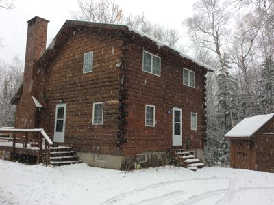 Photo for Beautiful Saltbox Log Cabin located in Carrabasset Valley, Maine