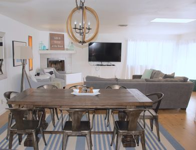 The kitchen and dining area is open to the large living room.
