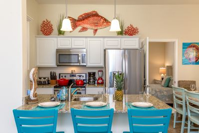 Kitchen - Big kitchen peninsula now with 4 swiveling bar stools for chatting with the cook!