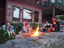 Toasting Marshmallows around the fire pit overlooking the lake.  This is heaven!