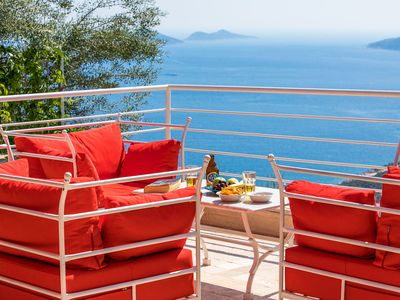 Photo for Luxury villa in private big garden with charming view of Kalkan Bay