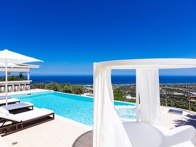 Photo for Hilltop mansion with full facilities & scenic sea panoramas