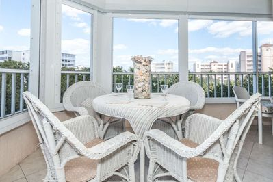 Incredibly spacious wrap around screened lanai on this 3rd floor unit located directly across street from private beach access on Gulf Shore Dr.