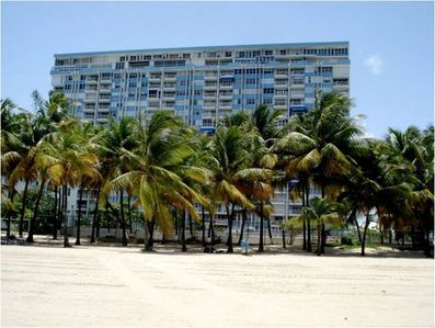 View of condo from beach, Direct access to Isla Verde Beach.