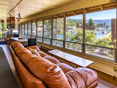 Photo for Amazing Views from Rustic Cabin right on the water at Bass Lake!