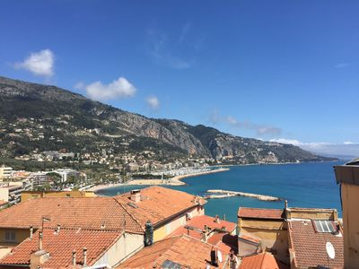 Photo for 2 room apartment with sea view in Vieux-Menton 2 minutes walk from the beach