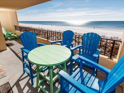 "Photo for ""Surf Dweller Unit 312"" Gorgeous Large Gulf Front Corner Unit!"