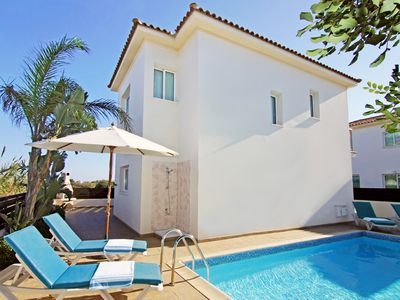 Photo for Alysa Villa-Private Pool, A/C, on Quiet Seafront in Ayia Triada, 500 m to Trinity Beach - Free WiFi