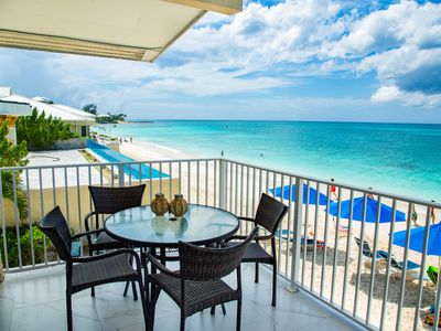 Photo for Unique Oceanfront Condo on 7-Mile-Beach. Private Balcony. Cayman Reef Resort #30