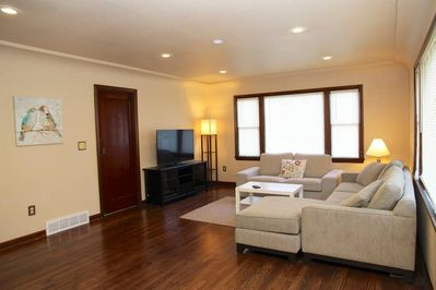 """Living room with a 50"""" SmartTV"""