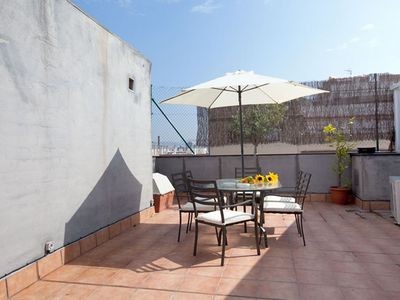 Photo for Sunset Terrace apartment in Poblenou with WiFi, air conditioning, private terrace & lift.