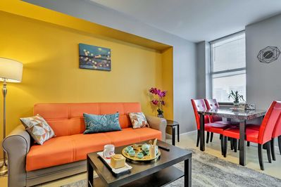 This modern condo sleeps 4 guests in modern style.