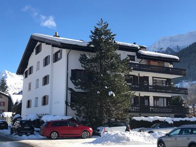 Photo for Luxury 4 * apartment (100m2) with large balcony in the centre of Klosters Platz
