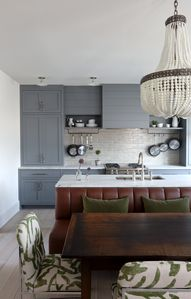 Kitchen dining with custom cabinets and banquette. Chairs in Zak + Fox fabric.