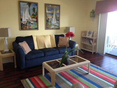 Remodeled livingroom. New floors, sofa sleeper, newly painted and decorated