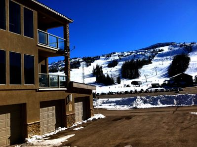 Condo with two decks and garage. Just walk across street and jump on chairlift!
