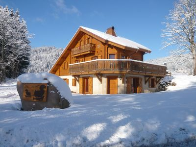 Photo for Chalet les Skirons 12 to 18 people South facing, surrounded by nature.