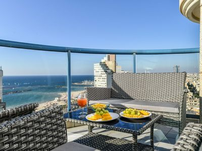Photo for Panoramic Apartment Phoebe beach front, shared pool