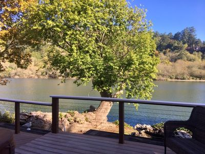 View of the Chetco River and a beautiful Myrtle Tree.