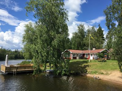Photo for Holiday house with panoramic views incl. Boat and sauna right on the lake Hyllen