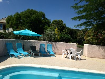 Photo for 2 bedroom gite with aircon, large garden and swimming pool - near beaches.