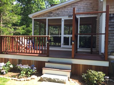 Screened porch and side deck.