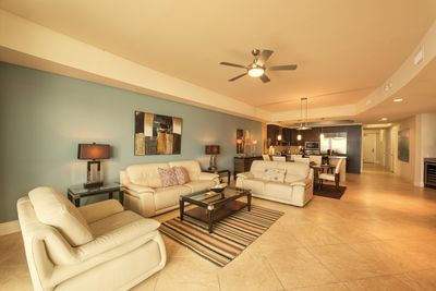 Living room, dining, and kitchen area. Lots of space for everyone.