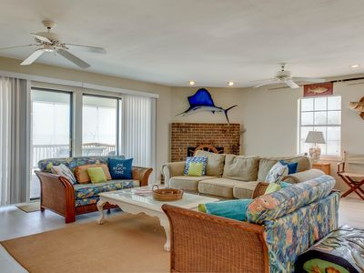 Photo for NEW LISTING! Home steps from the beach boasts gulf views & spacious deck