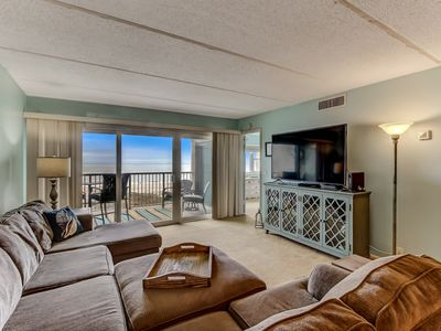 Photo for Beautiful view and 60 inch TV. Oceanfront 2 Bedroom 2 bath Condo. Private Fishing Pier, Tennis and Pool!